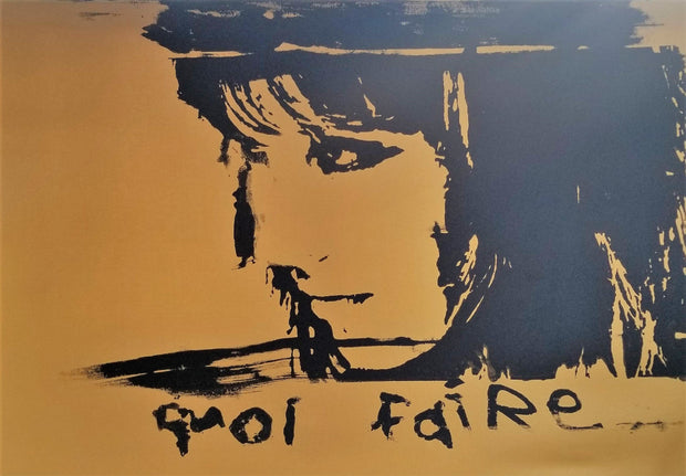 "24x36 Original Artwork ""Quoi Faire"" (What to Do"") by Godard feat. Anna Karina on gold color canvas"