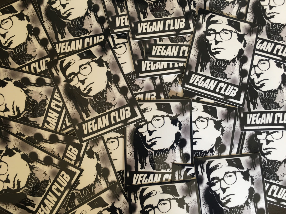 SOLD OUT! 12 Vegan Club Toby Morse of h20 Stickers - Collab with Anthony Proetta Jr