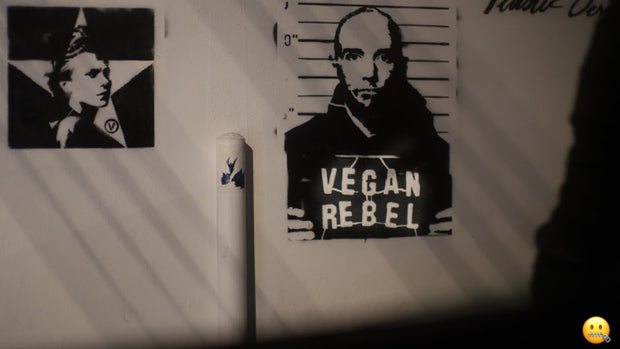 Limited Edition Street Art NewsPrint Poster Vegan Rebel mug shot featuring Moby