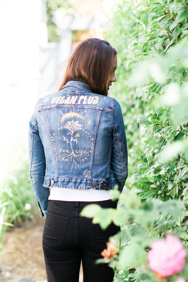 Brandi Jae Collab Jean Jacket Flower For Life Vegan Club