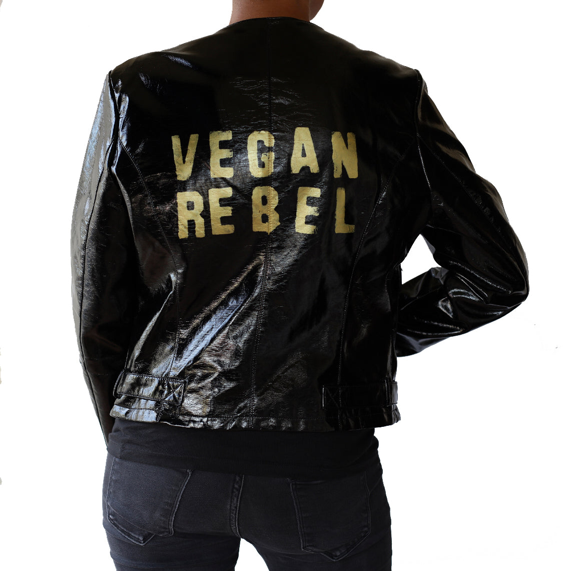 Vegan Rebel Black Shiny Faux Leather Jacket a la Thriller
