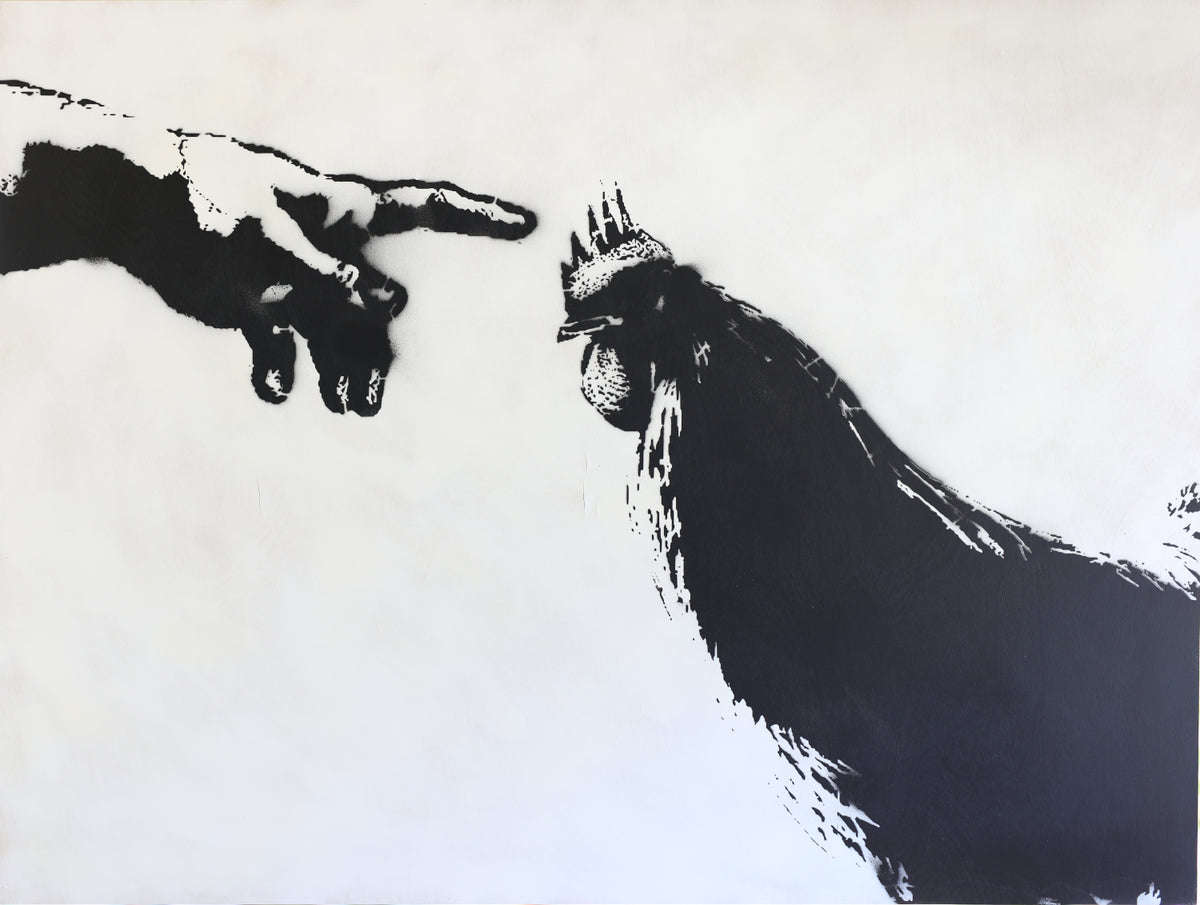 36x48 Original Artwork The Hand of God with a Chicken
