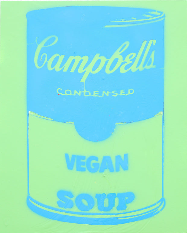 14x11 Original Artwork Vegan Campbell's Soup a la Warhol by Le Fou (blue and green)