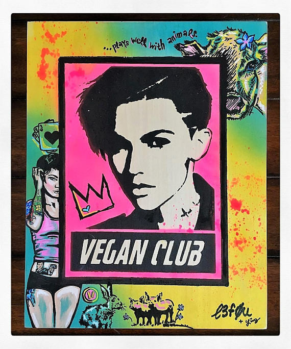 "11x14 Original Artwork Collab w @lindsayleigh1111 ""Vegan Club"" feat Ruby Rose signed L3F0u"
