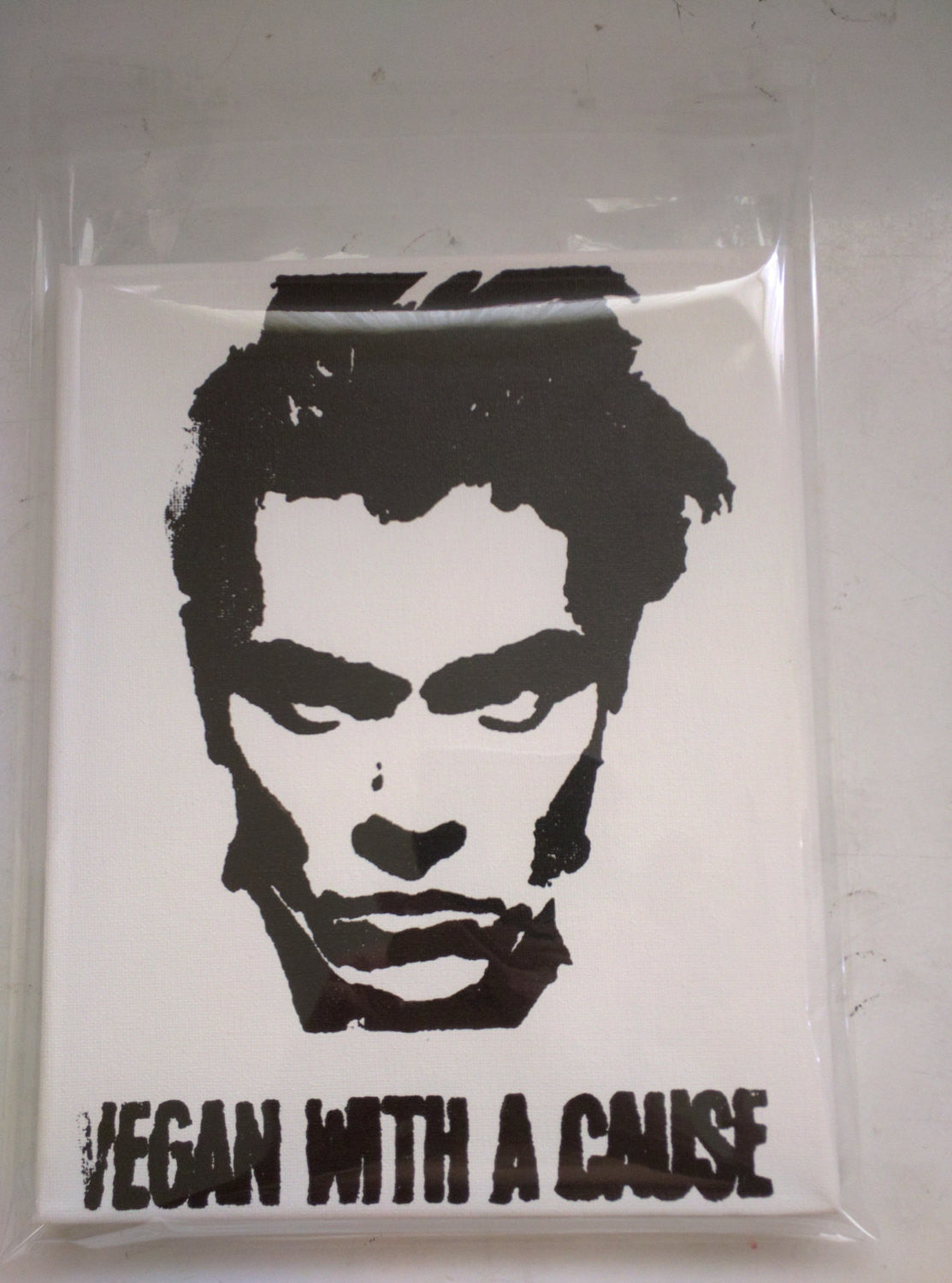 "Original Artwork on canvas 8x10 ""Vegan with a Cause"" featuring River Phoenix Signed on back L3f0u"