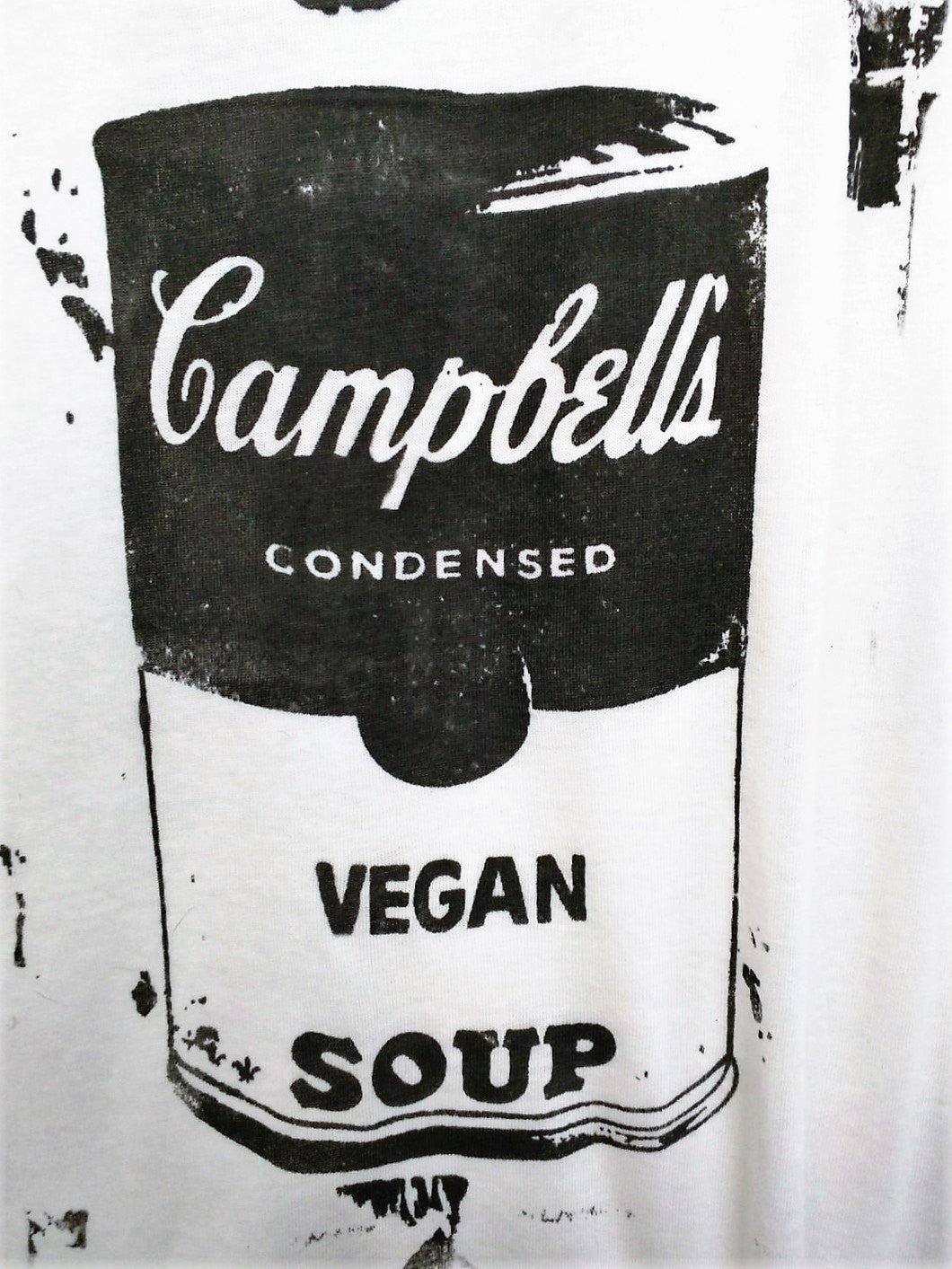 "Organic Made in USA T-shirt ""Vegan Soup is King!"" inspired by Warhol w Basquiat Crown"