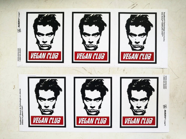 "Spread the Word with 6 Vegan Club with River Phoenix Stickers l3f0u 3.33"" x 4"""