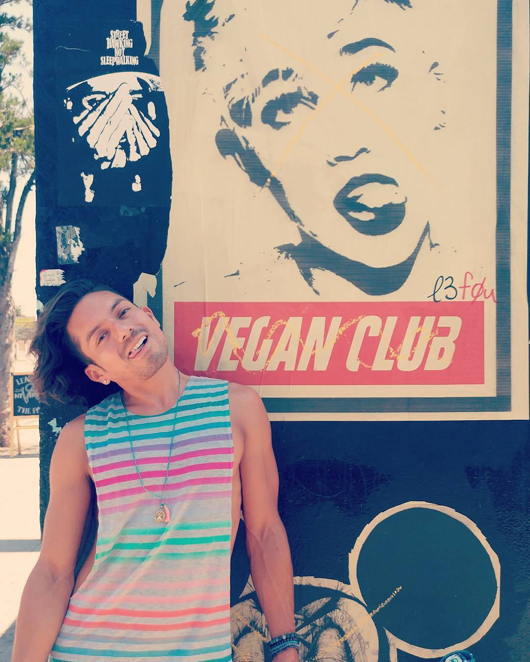 Street Art NewsPrint Poster Vegan Club featuring Miley Cyrus Signed L3f0u - models @ashleighhobbs @lrk_kung @carlosgogo
