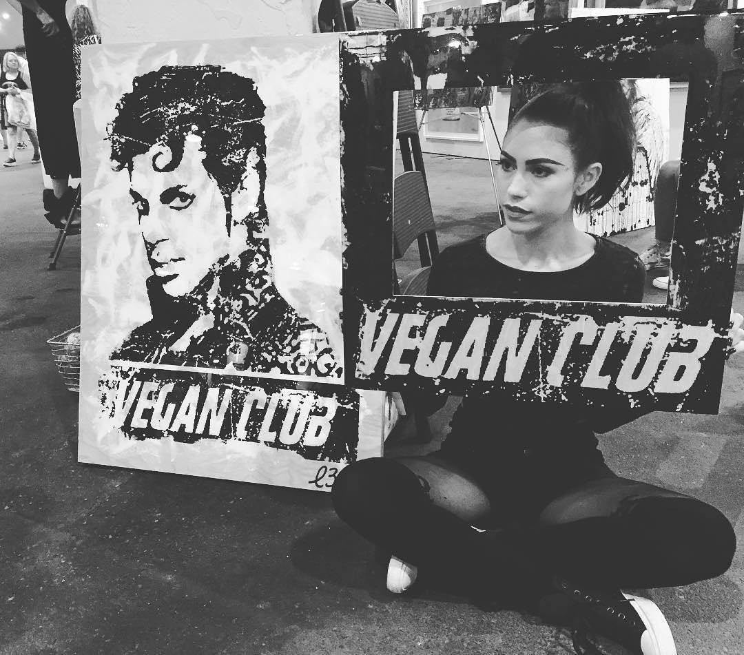 "Framed 30x40 Custom Artwork ""Vegan Club"" featuring your fav vegan celeb signed L3F0u (1 of X) - model @brymix"