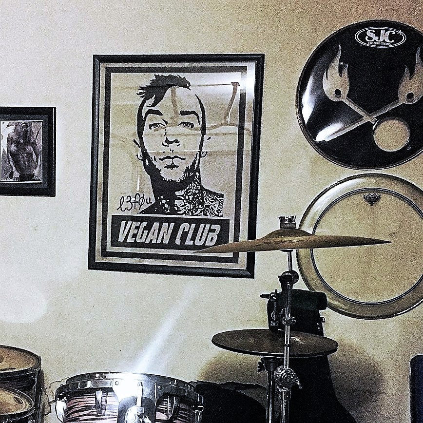 Street Art NewsPrint Poster Vegan Club featuring Travis Barker of Blink 182 Signed L3f0u - models @vegancuts @rozeluvak