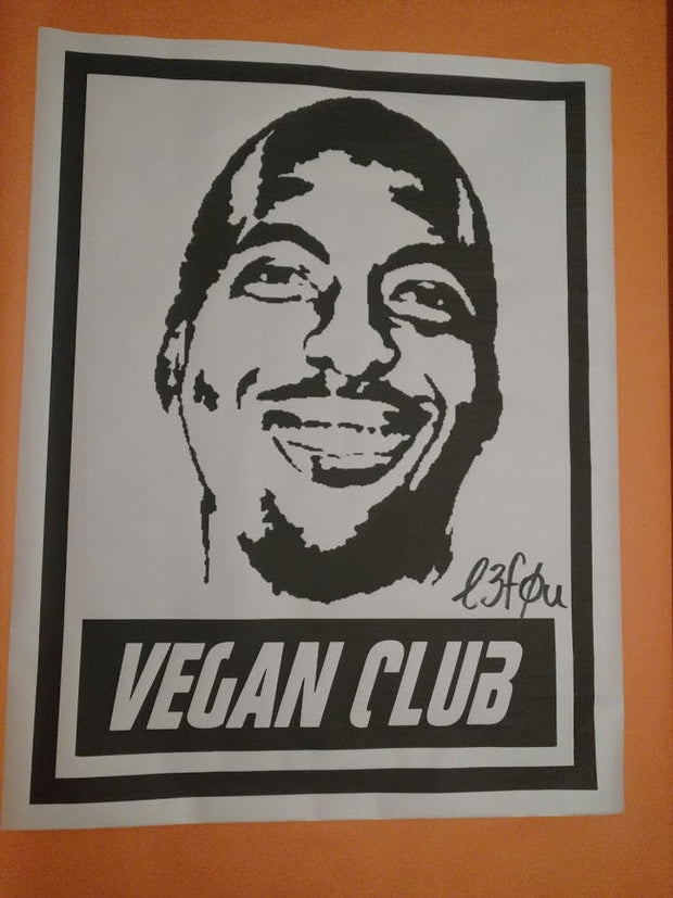 Street Art NewsPrint Poster Vegan Club featuring John Salley Signed L3f0u