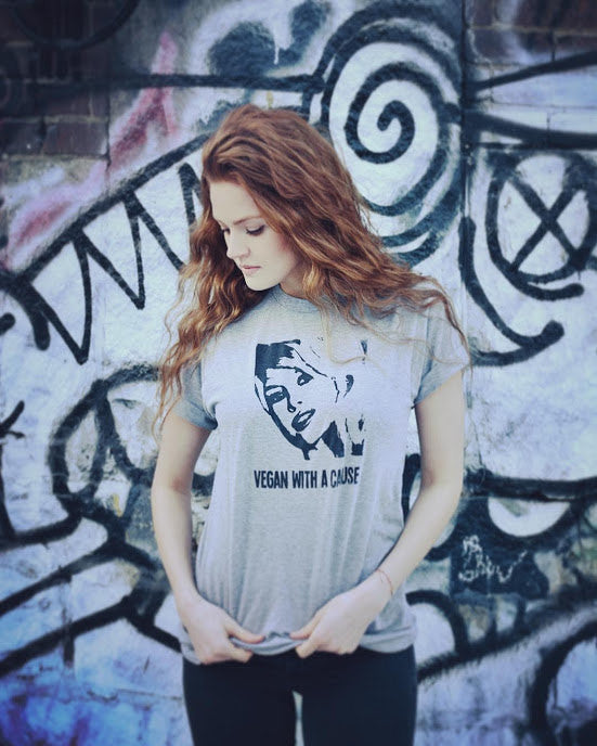 "Organic Made in USA T-shirt ""Vegan with a Cause"" featuring Brigitte Bardot"