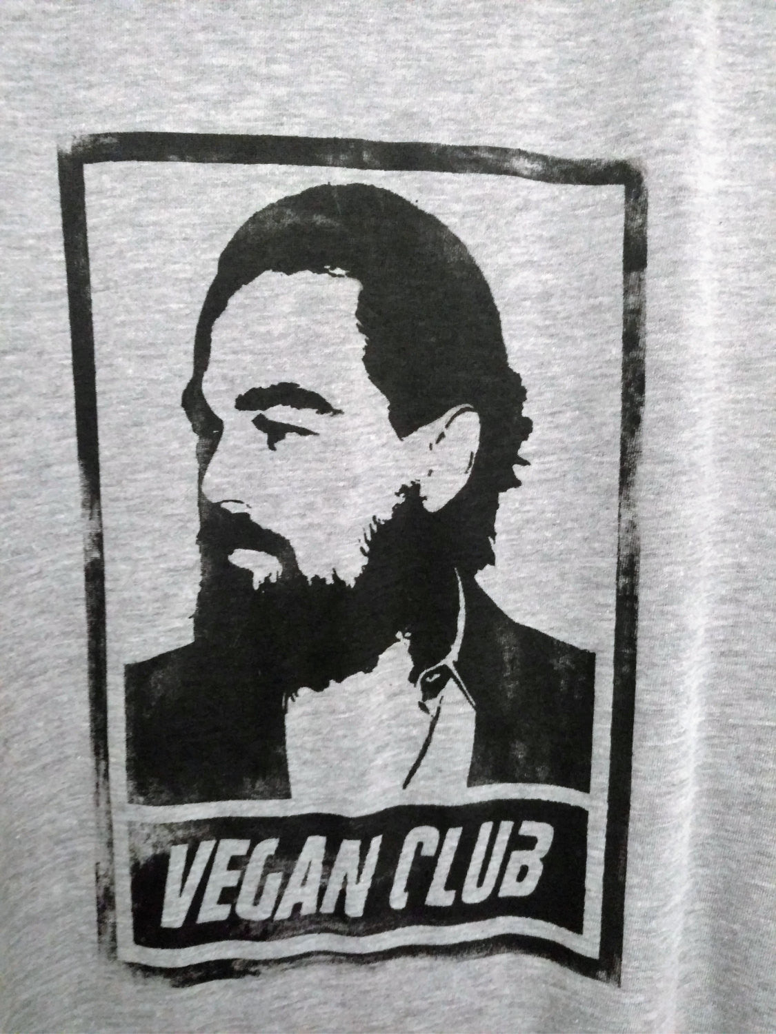 "Unisex T-shirt ""Vegan Club"" featuring Leonardo Di Caprio Handmade art by L3F0u - model @fettlevegan"