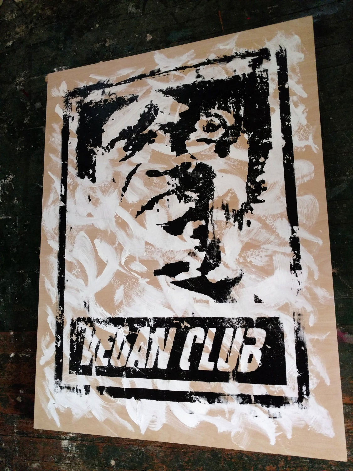 "30x40 Original Artwork ""Vegan Club"" featuring your fav vegan celeb Samuel Jackson signed L3F0u (1 of X)"