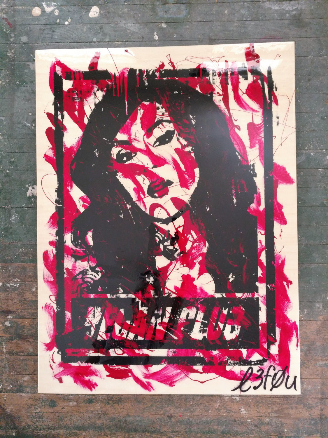 "30x40 Original Artwork ""Vegan Club"" featuring your fav vegan celeb Kat Von D signed L3F0u (2 of X)"