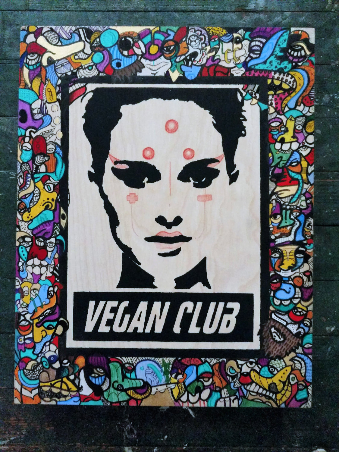 "11x14 Original Artwork Collab w @sentient.zero ""Vegan Club"" feat Natalie Portman signed L3F0u"