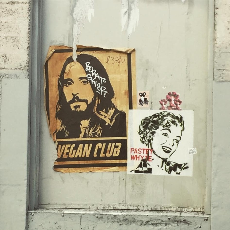 Street Art NewsPrint Poster Vegan Club featuring Jared Leto Signed L3f0u - models @julesrzine @natanewogsberg & pic by @chefitophoto