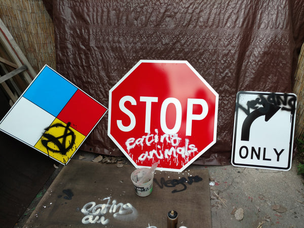 Stop Eating Animals Street Sign 36x36 art by Le Fou