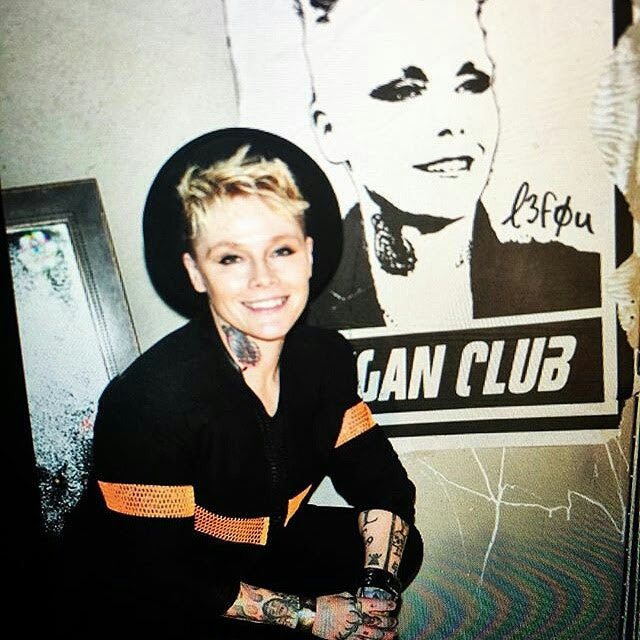 Street Art NewsPrint Poster Vegan Club featuring OTEP Signed L3f0u - model @otep