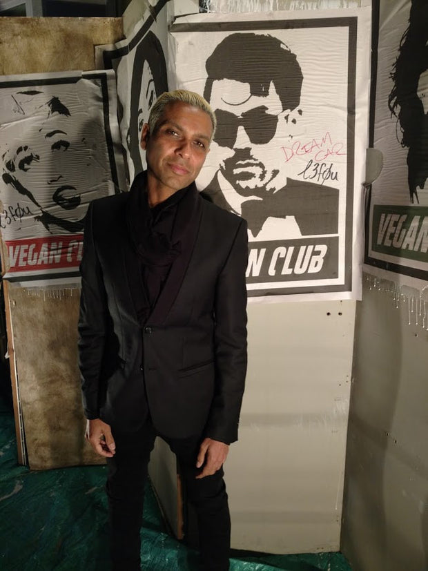Street Art NewsPrint Poster Vegan Club w Davey Havok DreamCar Signed L3f0u - models @tonykanal @thrashxunreal