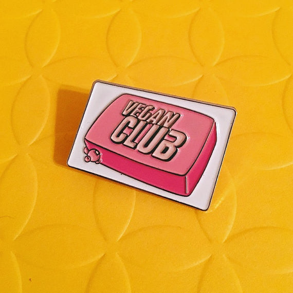 "Limited Edition Pin ""Vegan Club"" soap featuring Fight Club 1.25"" - Collab with @veganpowerco #veganclubXveganpower"