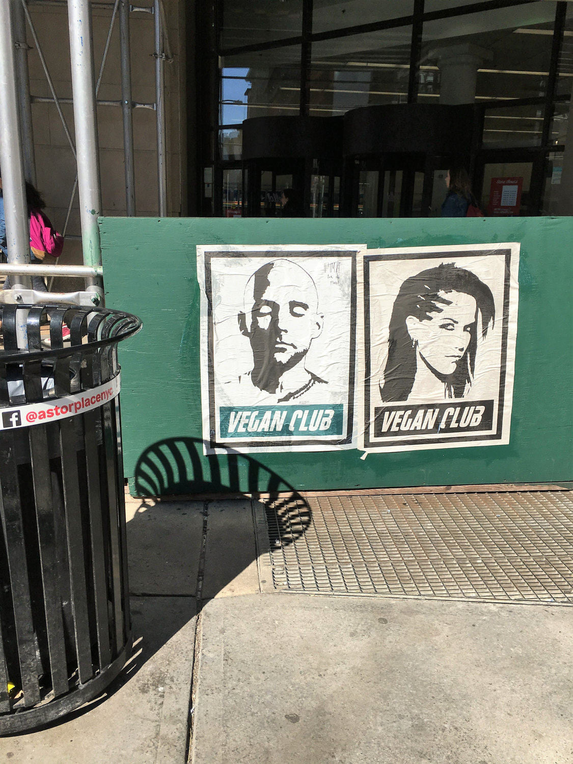 Framed on metal Street Art NewsPrint Poster 24x36 Vegan Club featuring Moby signed by LeFou