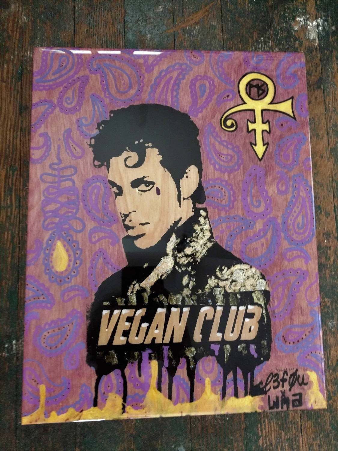 "SOLD - 11x14 Original Artwork Collab w Anthony Proetta Jr @_actions_not_words ""Vegan Club"" feat Prince signed L3F0u"