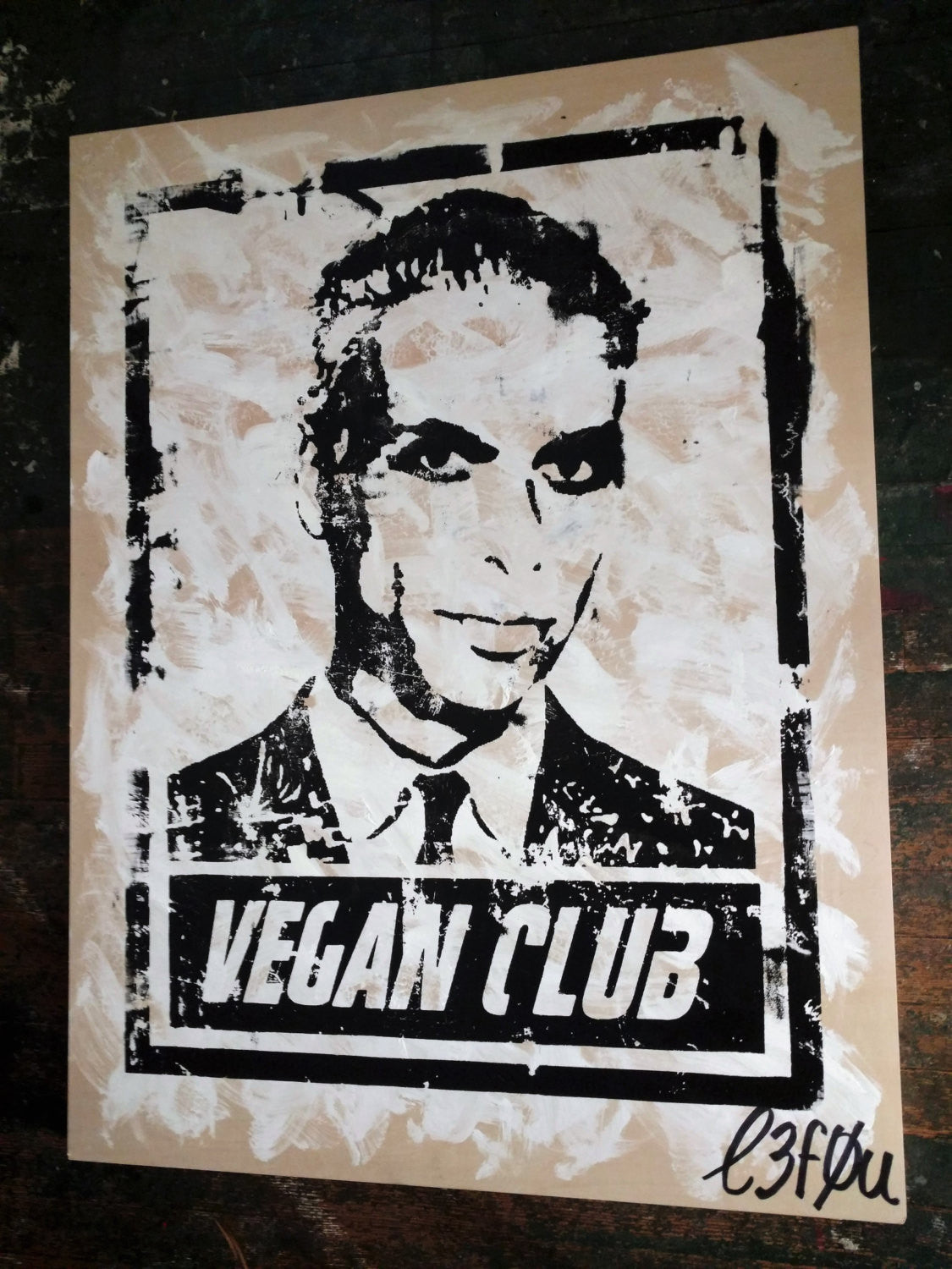 "30x40 Original Artwork ""Vegan Club"" featuring your fav vegan celeb Tony Kanal signed L3F0u (1 of X)"