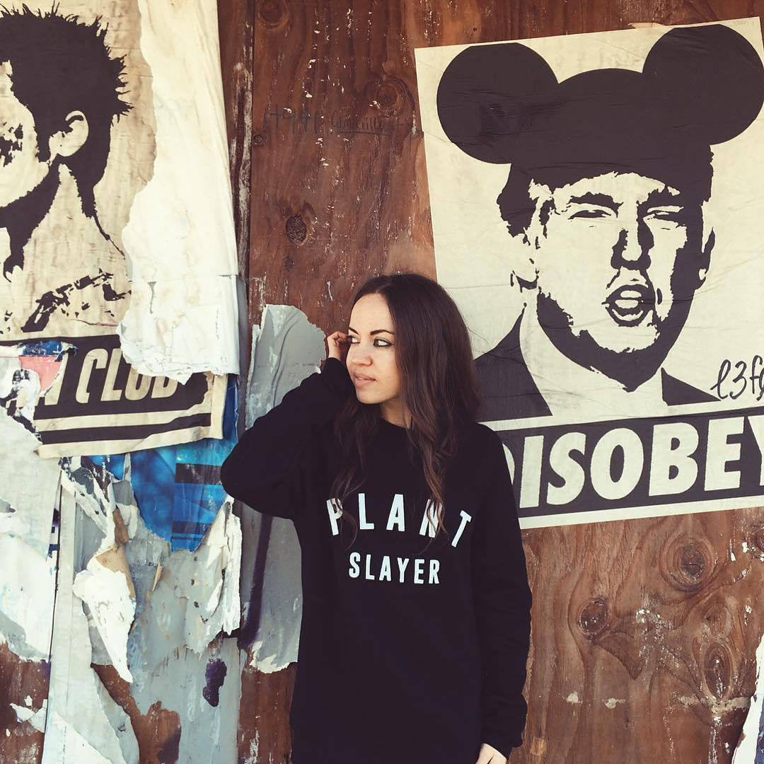 Street Art NewsPrint Poster Disobey Trump Mickey Mouse Operation Signed Le Fou approx - model @ruby_roth &  & pic by @chefitophoto