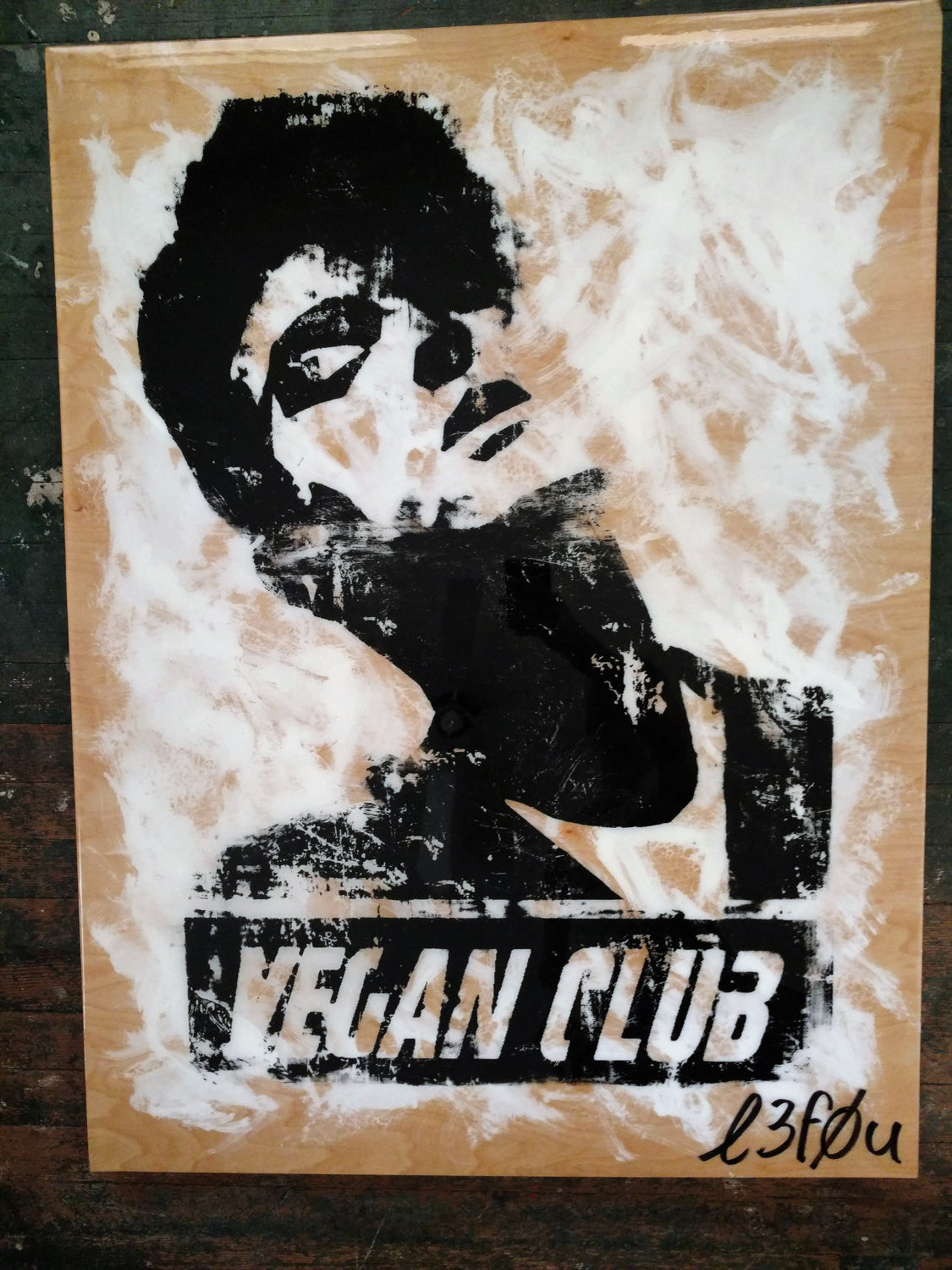 "30x40 Original Artwork ""Vegan Club"" featuring your fav vegan celeb Morrissey signed L3F0u (1 of X)"