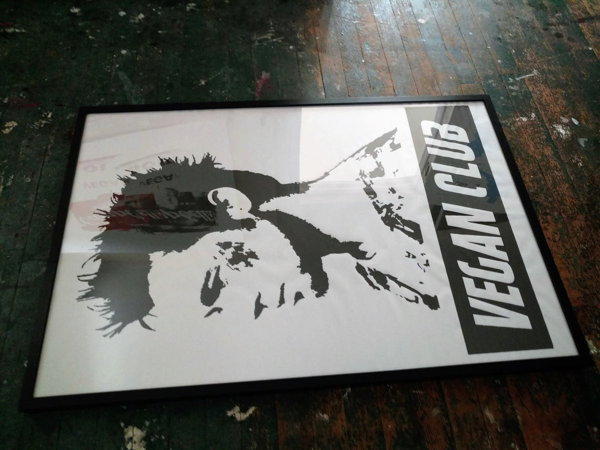 Framed on black wood Street Art NewsPrint Vegan Club featuring Brad Pitt