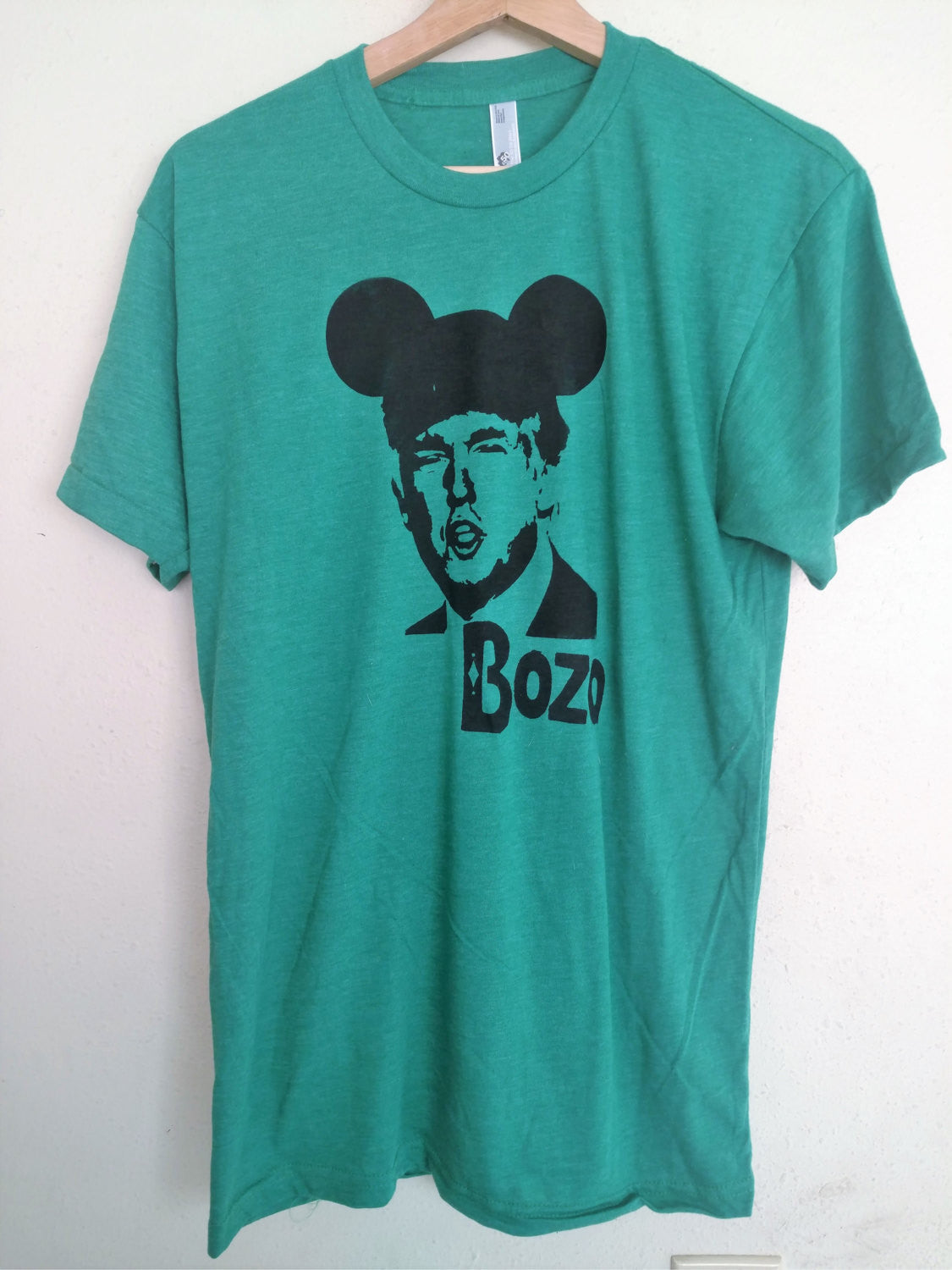 "Organic Made in USA T-shirt ""Bozo"" the clown featuring Donald Trump Handmade by Le Fou"
