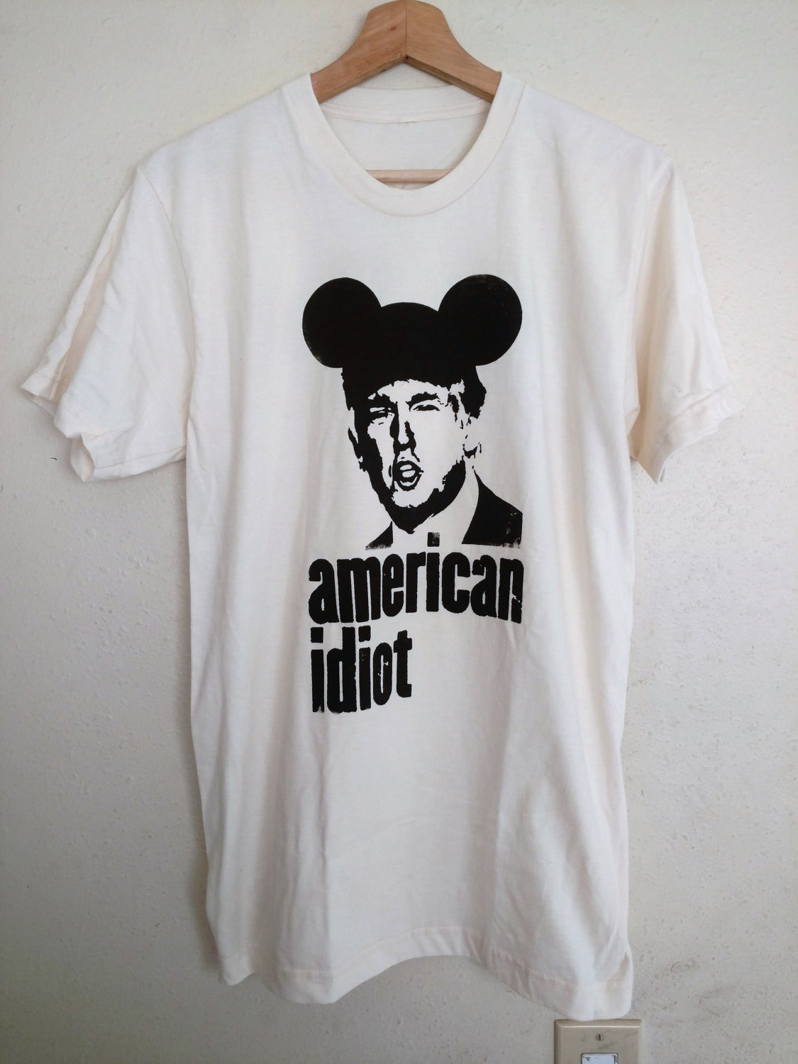 "Organic Made in USA T-shirt ""American Idiot"" featuring Donald Trump Handmade by Le Fou"