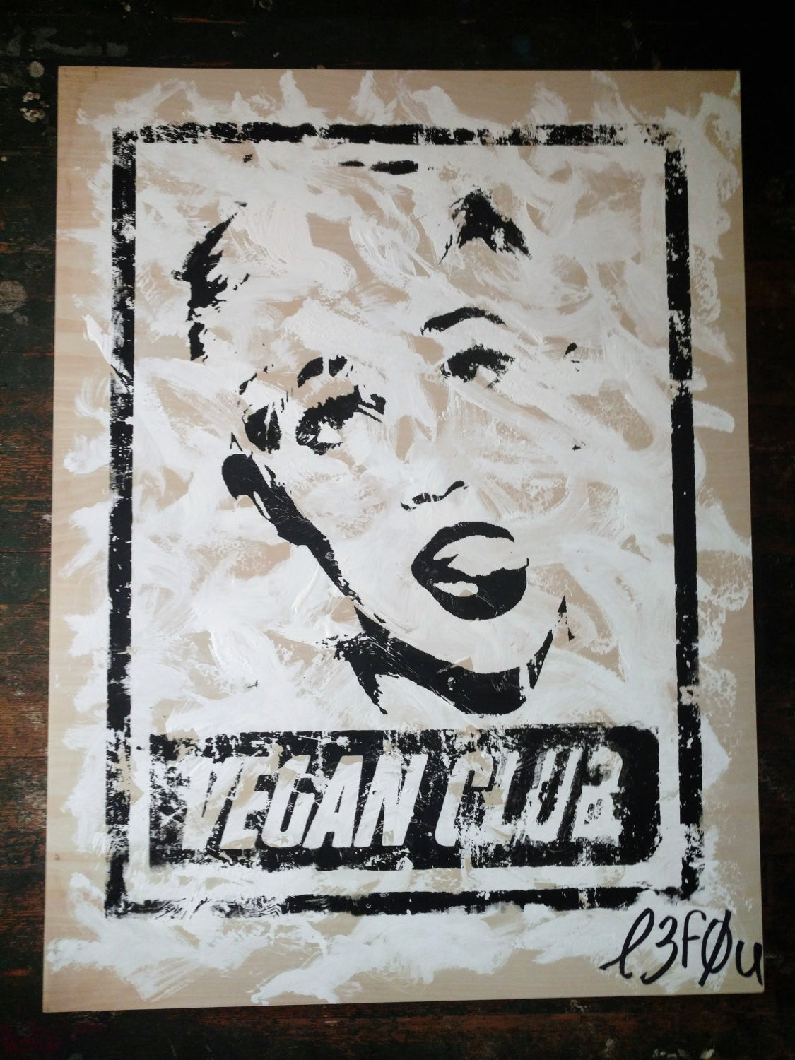 "30x40 Original Artwork ""Vegan Club"" featuring your fav vegan celeb Miley Cyrus signed L3F0u (1 of X)"