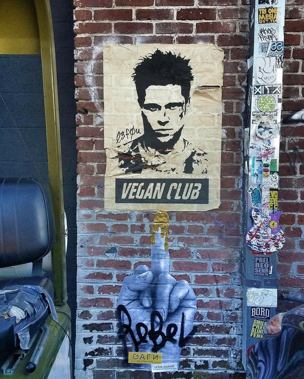 NewsPrint Poster Vegan Club feat. Brad Pitt - orig. photo by @matthew_welch