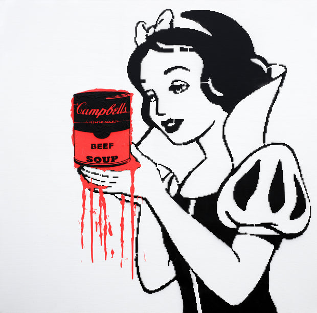 48x48 Original Artwork Snow White holding Campbell's Vegan Soup by L3F0u (on canvas)