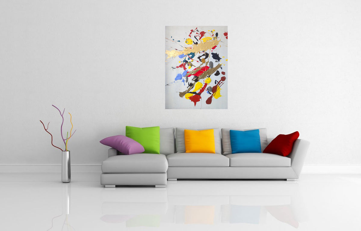 CLIMAX - Original abstract art painting with red yellow blue black gold silver colors