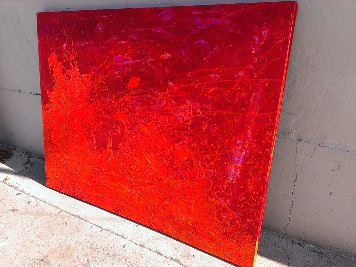 POMPEII - original abstract art painting with red orange and yellow colors