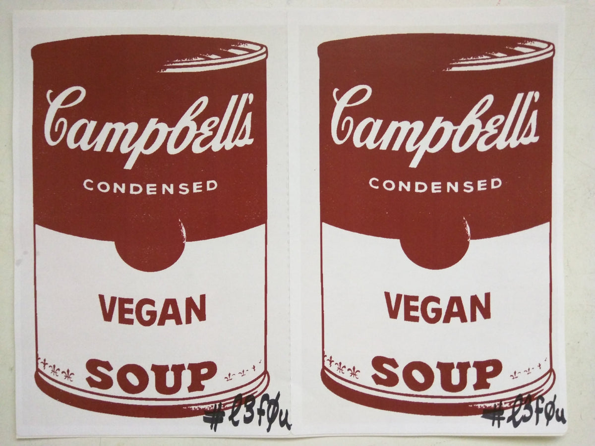 "2 Stickers Vegan Soup Red Warhol Pop Art Autographed l3f0u 5.5"" x 8.5"""