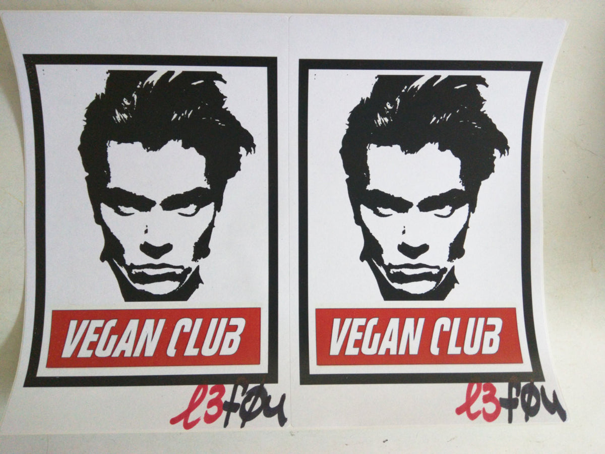 "Vegan Club with River Phoenix Stickers Autographed l3f0u 5.5"" x 8.5"""