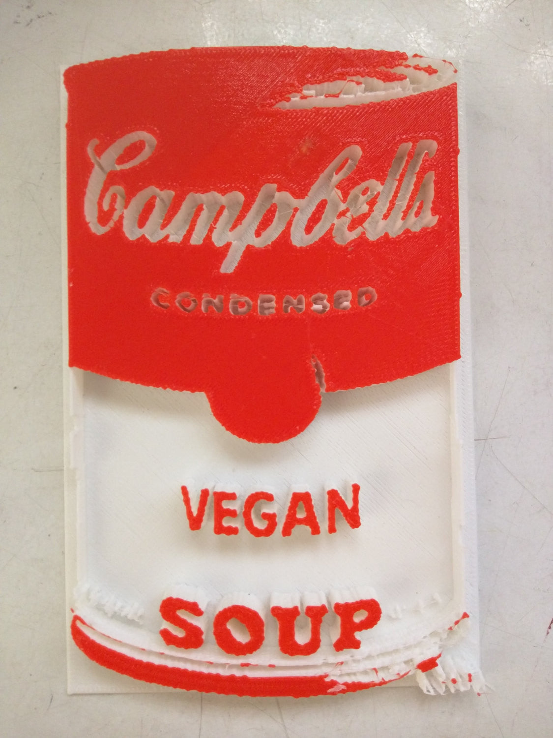 3D printed Campbell's Vegan Soup Red & White by L3f0u
