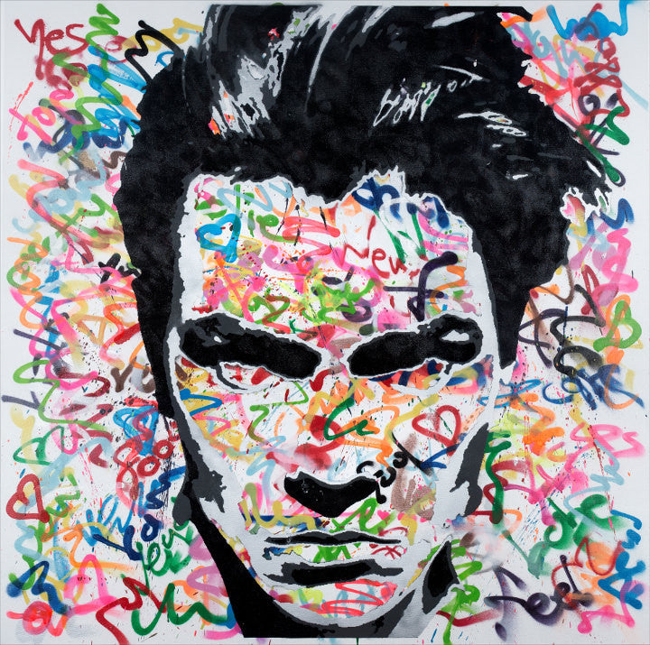 48x48 Original Artwork Vegan James Dean (River Phoenix) Graffiti on Canvas