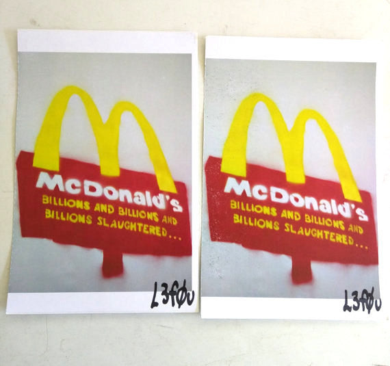 "2 McDonalds Billions Animals Slaughtered Stickers Autographed l3f0u 5.5"" x 8.5"""