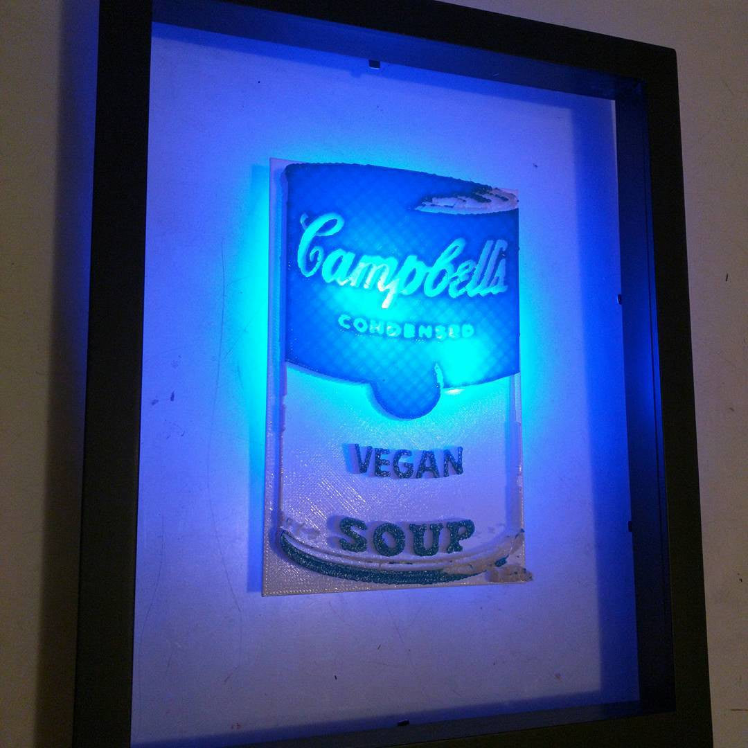 3D printed Campbell's Vegan Soup Blue & White framed in glass with blue backlight by L3f0u
