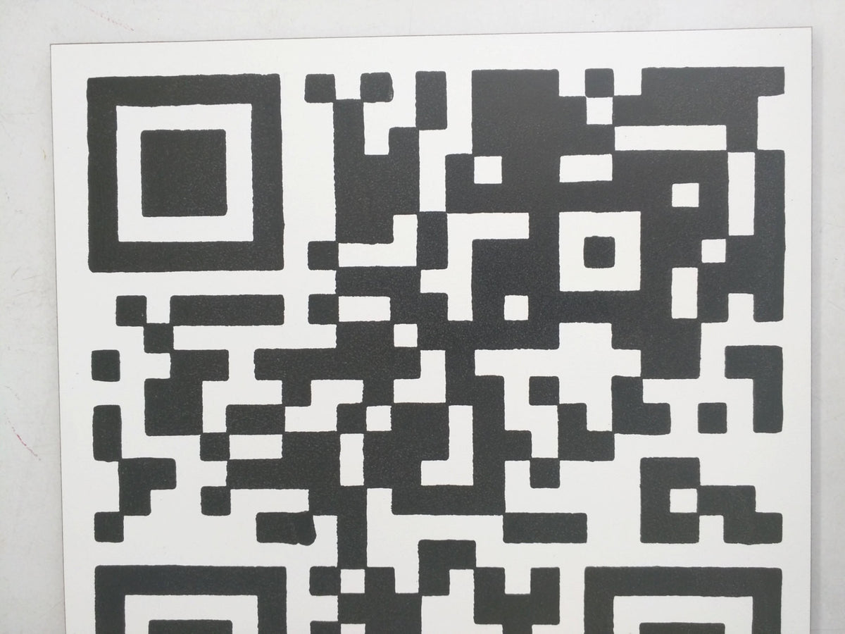 "Limited Edition 1 of 150 Original Artwork QR Code of ""Actual Size of Hen Cage"" Signed on back L3f0u 8x8"