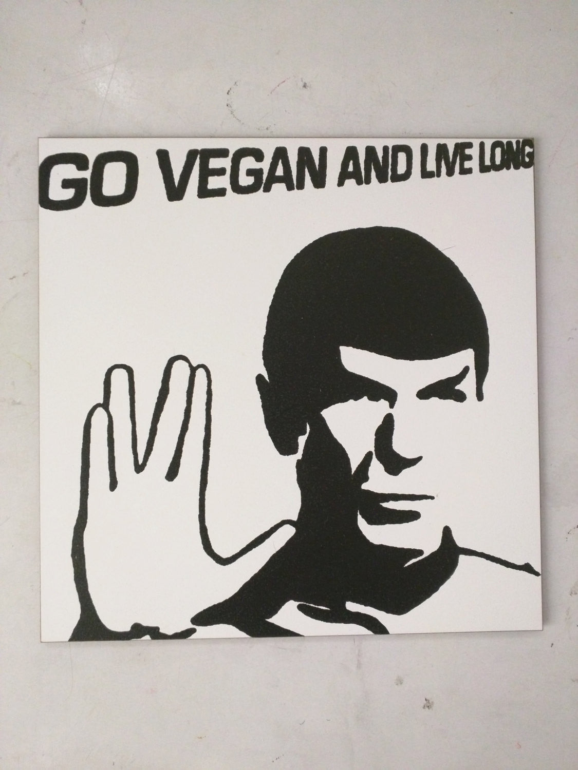 "Limited Edition 1 of 150 Original Artwork ""Go Vegan and Live Long!"" featuring Spock from Star Trek Signed on back L3f0u 8x8"