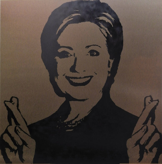 "SOLD - 48x48 Original Artwork Hillary Clinton ""Trust me! Me, lie, ... never!"" crossing fingers by L3F0u"