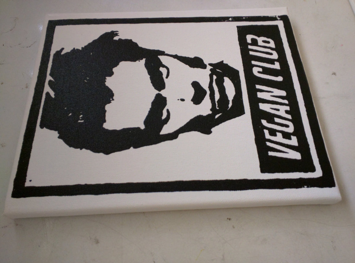 "Original Artwork on canvas 8x10 ""Vegan Club"" featuring River Phoenix Signed on back L3f0u"