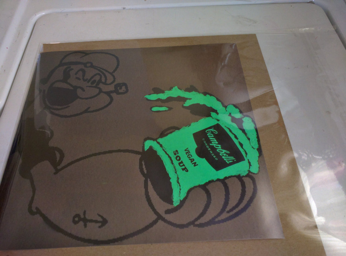 Limited Edition of 150 Print of Artwork Popeye holding Campbell's Vegan Soup by L3F0u