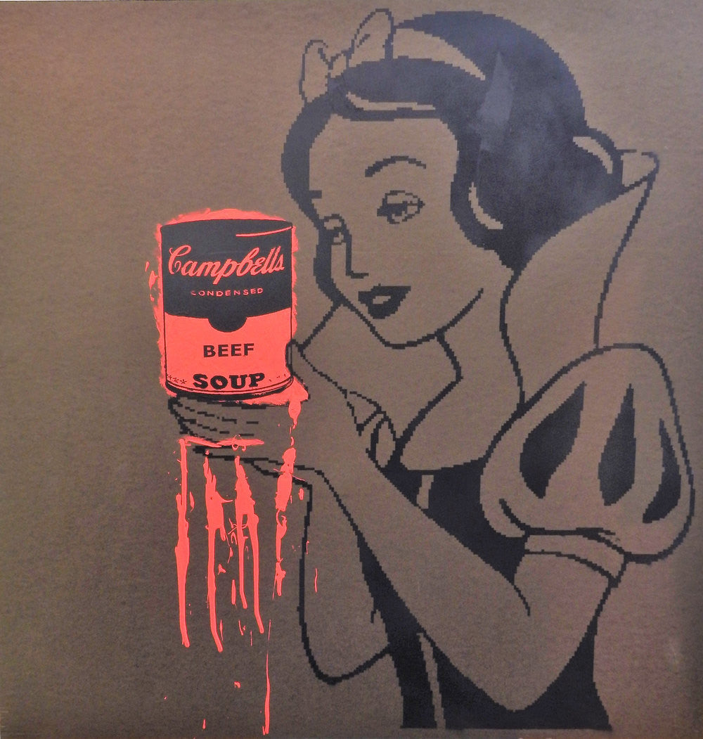 Limited Edition of 150 10x10 Print of Artwork Snow White holding deadly Campbell's Beef Soup by L3F0u